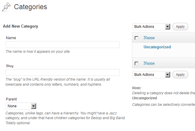 Adding a wordpress category ( parent and child category)