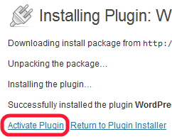 Activating Worpdress plugin
