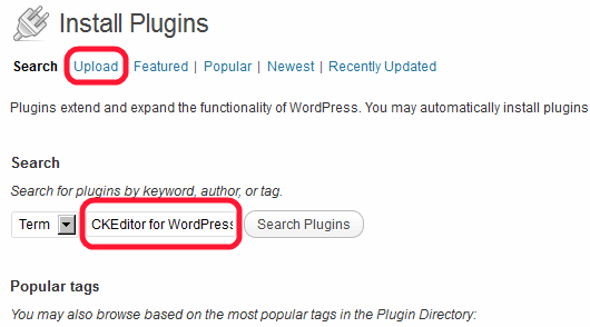 Wordpress plugin Ckeditor