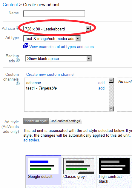 Google Adsense html code