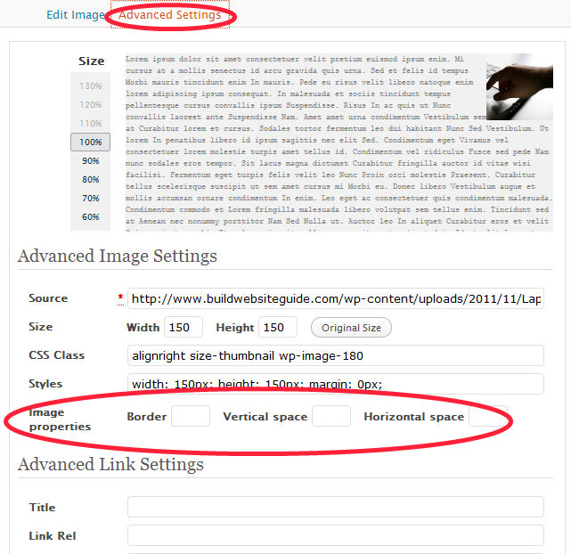 advanced wordpress image settings